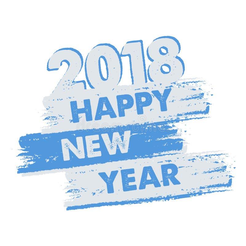Szczęśliwy nowy rok 2018 w patroszonym sztandarze royalty ilustracja