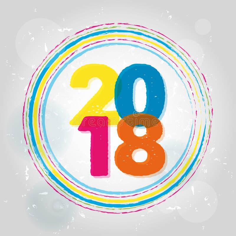 Szczęśliwy nowy rok 2018 w pierścionkach, pstrobarwny rysujący sztandar ilustracji