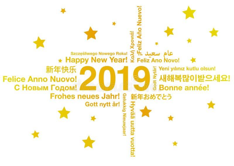 Szczęśliwy nowy rok 2019 w różnych językach royalty ilustracja