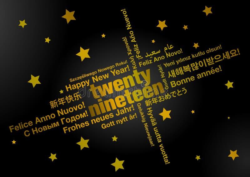 Szczęśliwy nowy rok 2019 w różnych językach ilustracja wektor