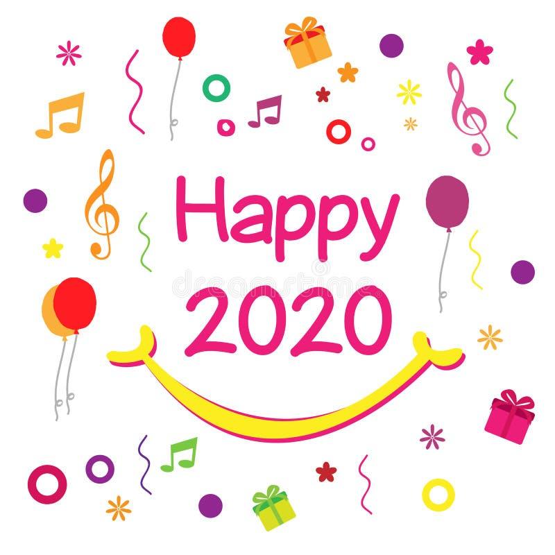 Szczęśliwy nowy rok 2020 - wektor ilustracji