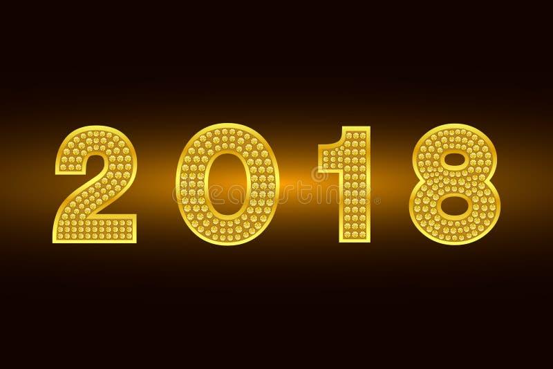Szczęśliwy nowy rok 2018 Wektorowy tło Złoto postacie z rhinestone Powitanie ilustracja dla Xmas Szablon dla zaproszenia, komarni ilustracji