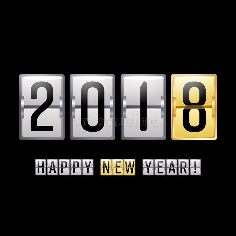 Szczęśliwy nowy rok 2018 Wektorowy tablica wyników kontuar Chiński nowego roku powitania 2018 tło royalty ilustracja