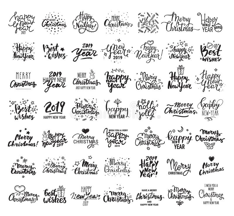 Szczęśliwy nowy rok, Wesoło boże narodzenia, najlepsze życzenia Duża ręcznie pisany literowanie kolekcja Wektorowe clipart ilustr royalty ilustracja