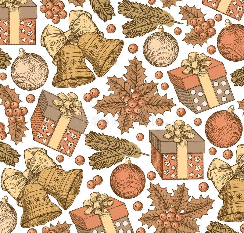 Szczęśliwy nowy rok, Wesoło boże narodzenia tło płatków śniegu biały niebieska zima wakacje Prezenty, zabawki, dzwony, drzewny re ilustracja wektor