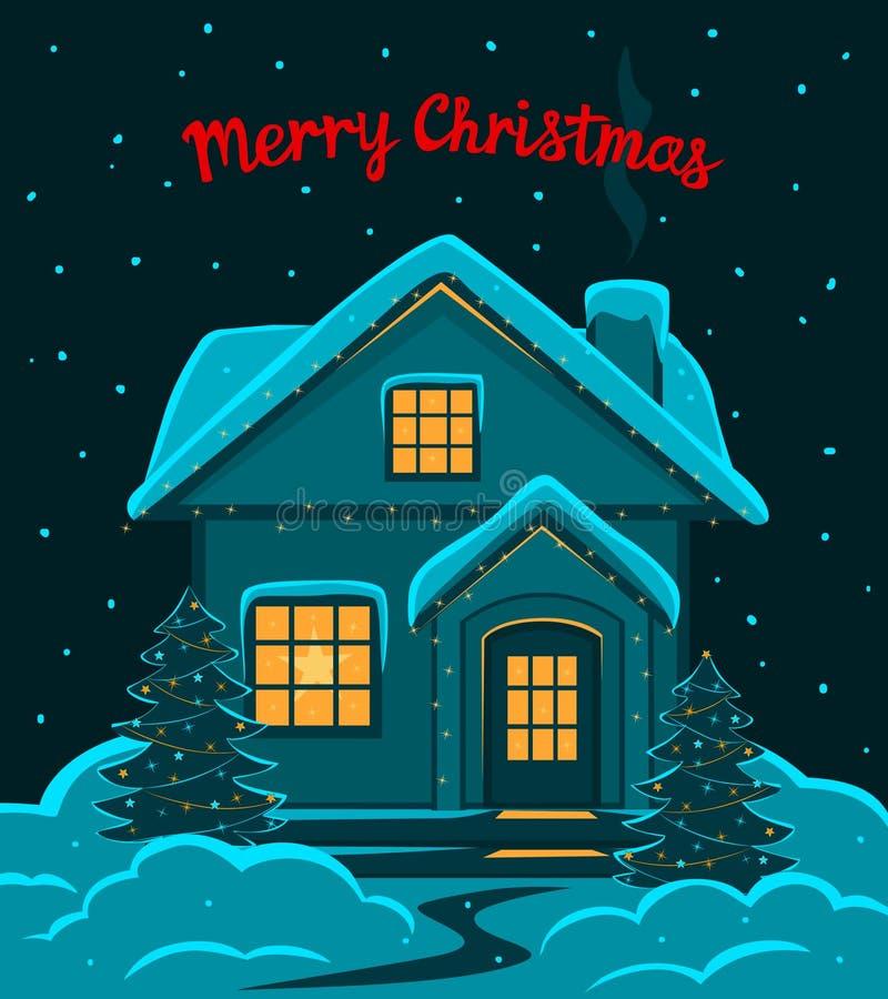 Szczęśliwy nowy rok, Wesoło zimy sezonowy kartka z pozdrowieniami z dekorujący z dowodzonym światło domem w śniegu, royalty ilustracja