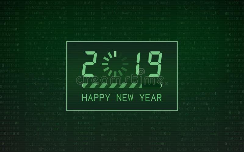 Szczęśliwy nowy rok 2019 z ładowanie baru ikoną na abstrakcjonistycznego cyfrowego binarnego kodu i zielonego koloru tle royalty ilustracja