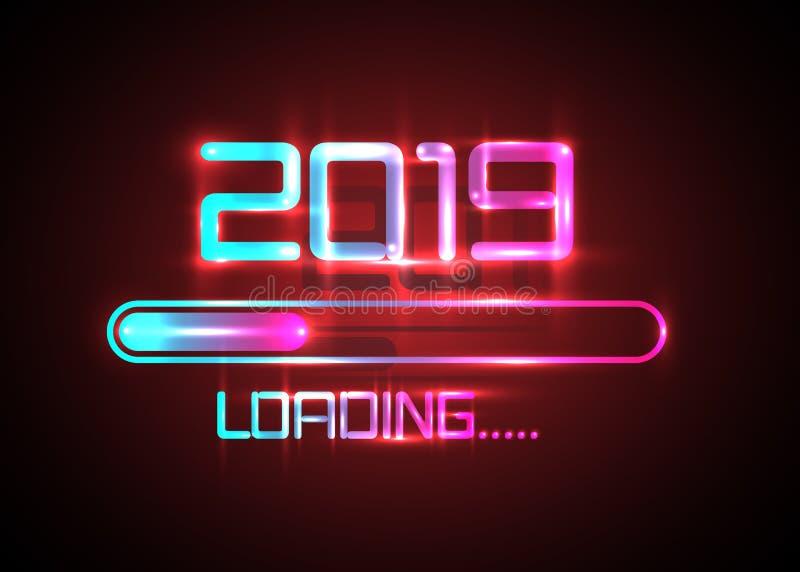 Szczęśliwy nowy rok 2019 z ładowniczej ikony błękitnym neonowym stylem Rozwija się prętową prawie dosięga nowego roku ` s wigilię royalty ilustracja