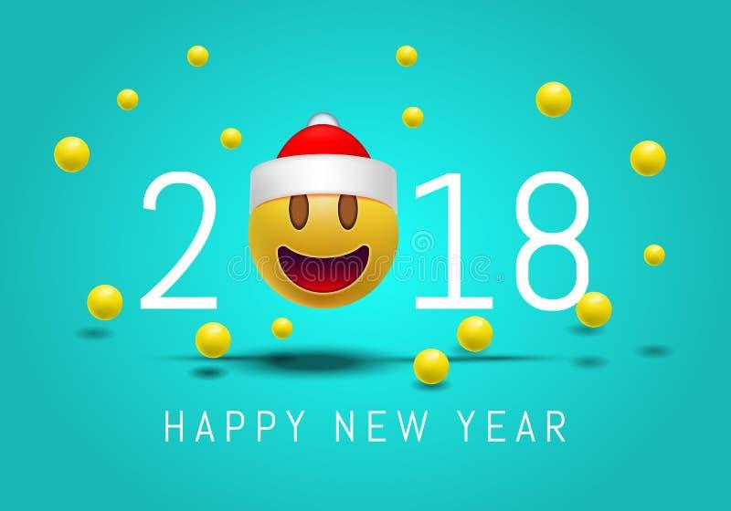 Szczęśliwy nowy rok 2018 z śliczną uśmiechniętą emoji twarzą z Święty Mikołaj kapeluszem 3d Smiley Emoji nowożytny projekt dla so ilustracja wektor