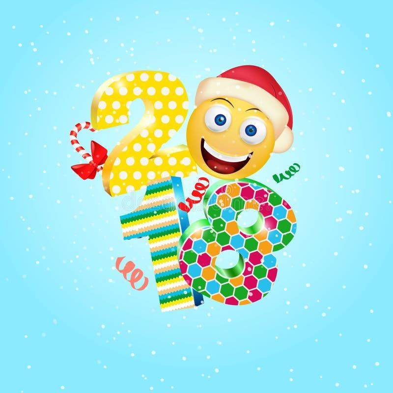 Szczęśliwy nowy rok 2018 z śliczną uśmiechu emoji twarzą z Święty Mikołaj kapeluszem 3d Smiley Emoji nowożytny projekt dla ogólno ilustracji