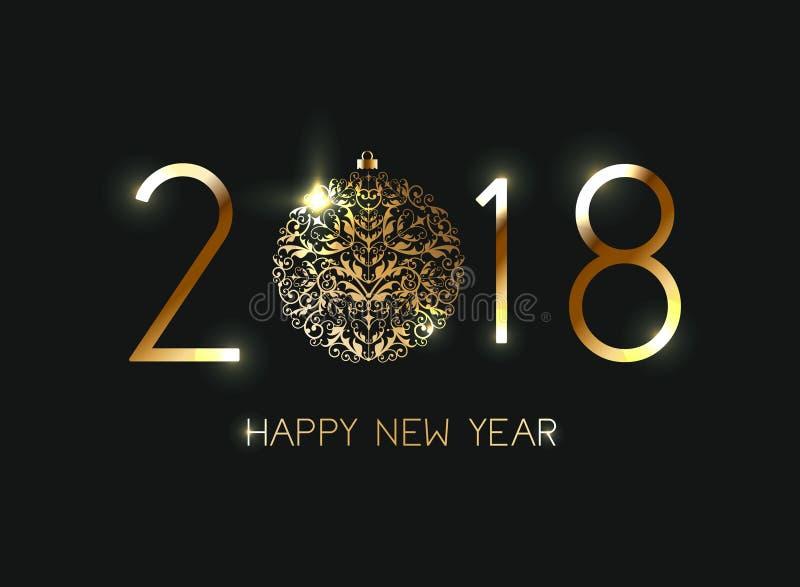 Szczęśliwy nowy rok 2018 z błyszczącym złocistym literowaniem ilustracja wektor