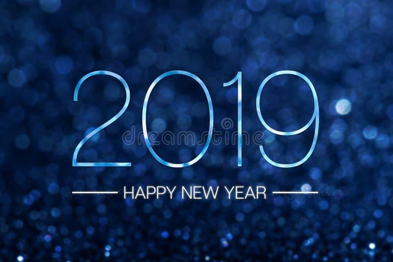 Szczęśliwy nowy rok 2019 z ciemnym marynarki wojennej błękita błyskotliwości bokeh światła dźwigarem ilustracji