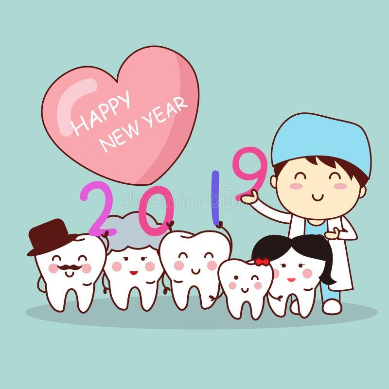 Szczęśliwy nowy rok z dentystą ilustracji