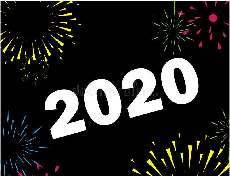 Szczęśliwy nowy rok 2020 z fajerwerk ramą obrazy stock