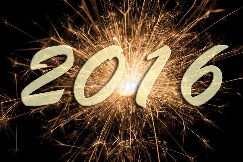 Szczęśliwy nowy rok 2016 z fajerwerkiem zdjęcie royalty free