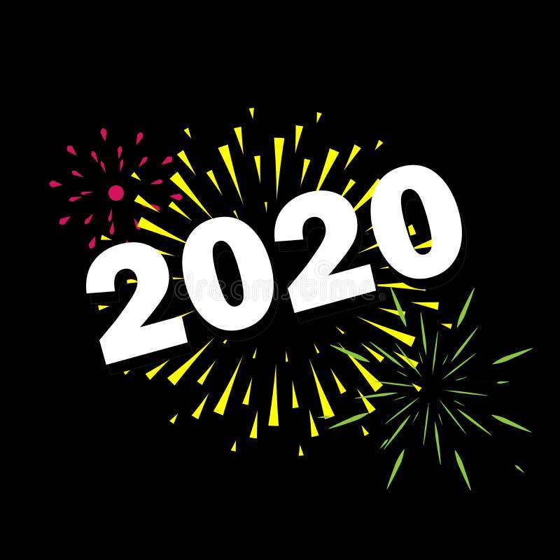 Szczęśliwy nowy rok 2020 z fajerwerku czarnym tłem zdjęcia royalty free