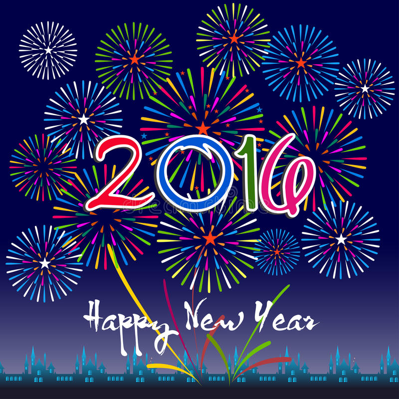 Szczęśliwy nowy rok 2016 z fajerwerku tłem ilustracji
