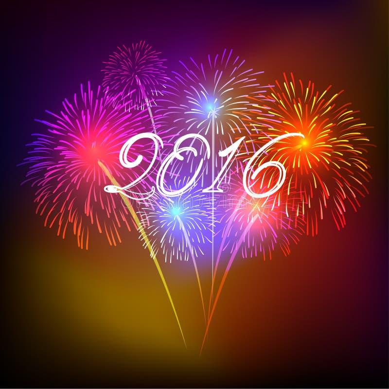 Szczęśliwy nowy rok 2016 z fajerwerku wakacje tłem royalty ilustracja
