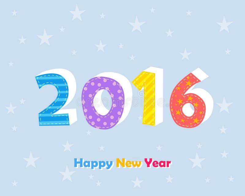 Szczęśliwy nowy rok 2016 z gwiazdami nad błękitnym tłem royalty ilustracja