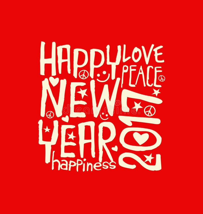 Szczęśliwy nowy rok 2017 z inspirować ręcznie pisany typografię ilustracja wektor