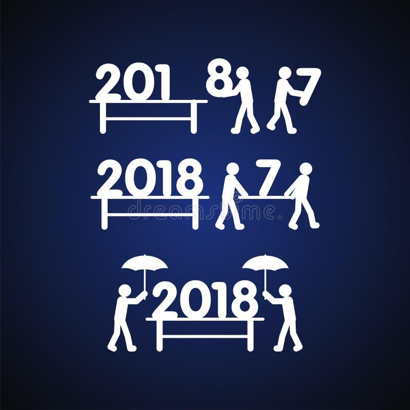 Szczęśliwy nowy rok 2018 z istoty ludzkiej i liczby ilustracją ilustracji