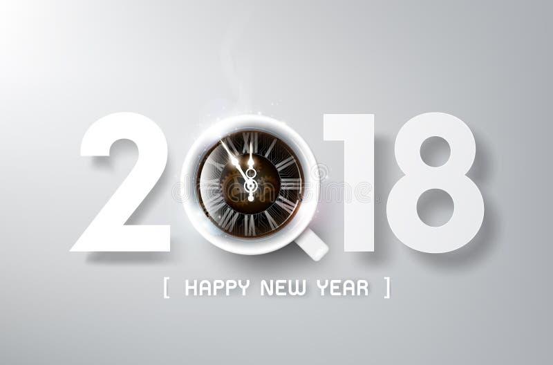 Szczęśliwy nowy rok 2018 z kawą i antyka zegarem, relaksuje czas i świętowania pojęcie, wektorowa ilustracja ilustracji