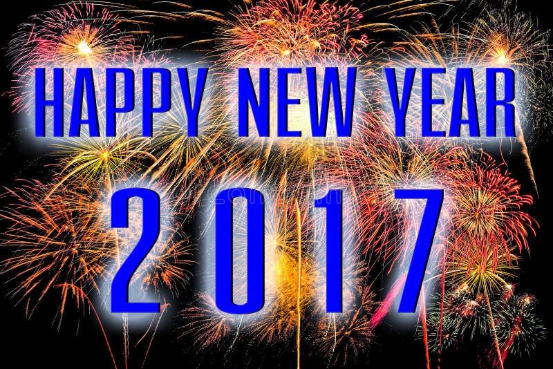 Szczęśliwy nowy rok 2017 z kolorowym fajerwerku tłem fotografia stock