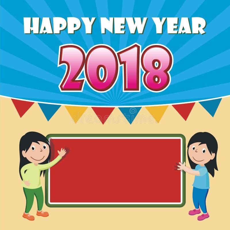 Szczęśliwy nowy rok 2018 z kreskówka projektem royalty ilustracja