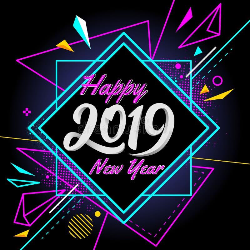 Szczęśliwy nowy rok 2019 z nowożytnego sztandaru kolorowym tłem royalty ilustracja