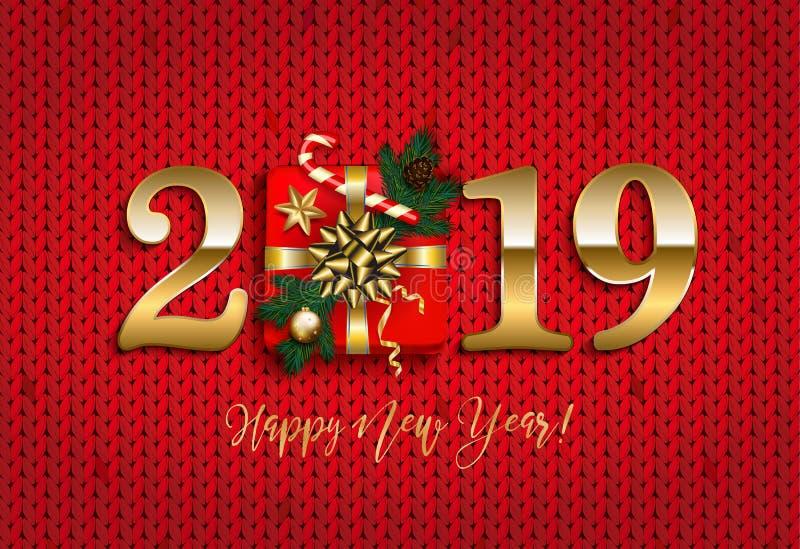 Szczęśliwy nowy rok 2019 z prezentem dział backgrou, sosny gałąź, czerwień ilustracja wektor