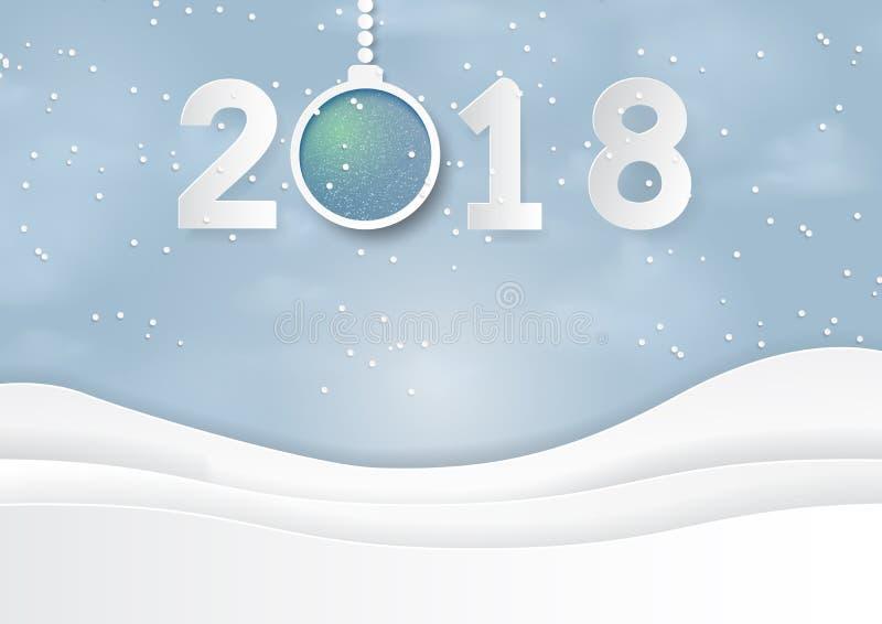 Szczęśliwy nowy rok z tekstem 2018 na śniegu i zima sezon z nat royalty ilustracja