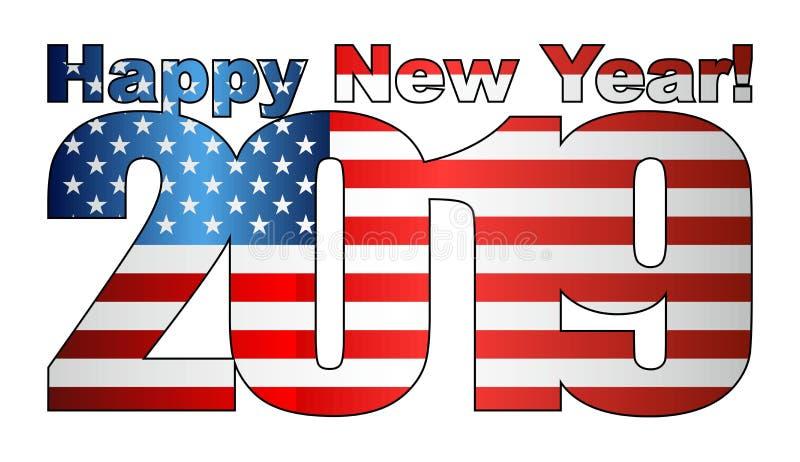 Szczęśliwy nowy rok 2019 z usa flagą wśrodku ilustracji