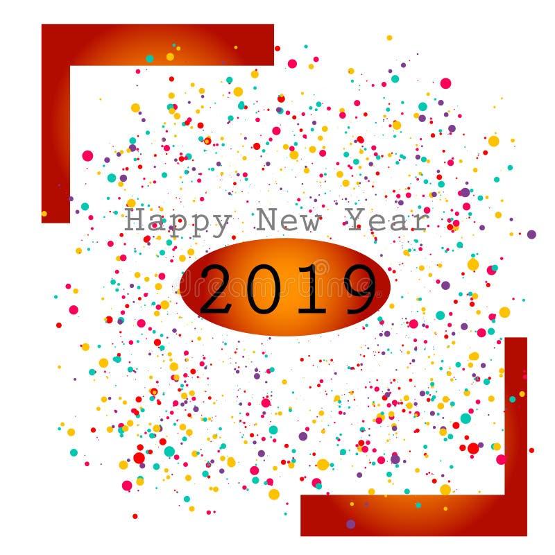 Szczęśliwy nowy rok z wielo- koloru projekta świętowaniem royalty ilustracja