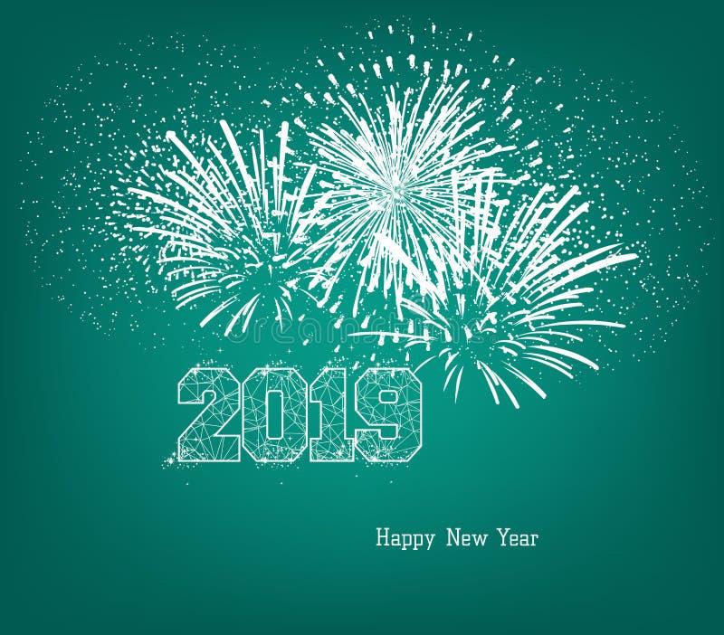 Szczęśliwy nowy rok 2019 z złocistą piłką i fajerwerkami royalty ilustracja