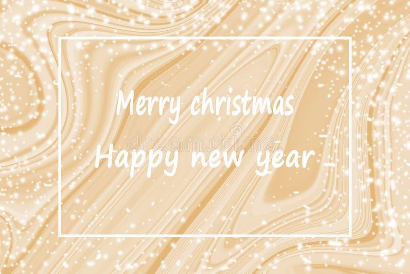 Szczęśliwy nowy rok z złoto marmuru tłem royalty ilustracja