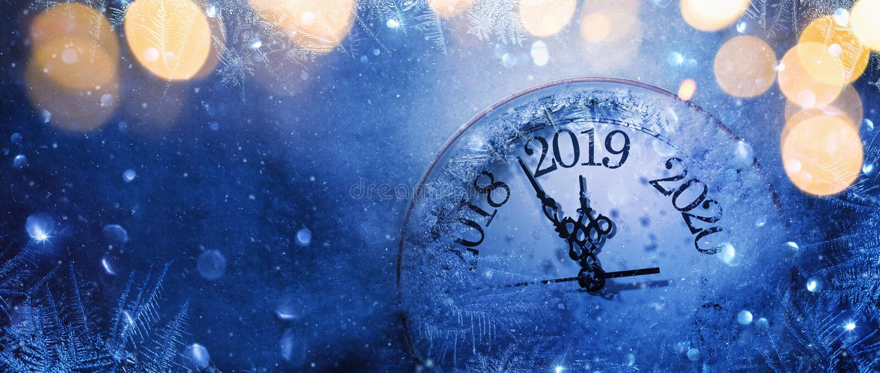 Szczęśliwy nowy rok 2019 Zimy świętowanie obrazy stock