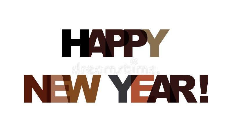 Szczęśliwy nowy rok, zwrota nasunięcia kolor żadny przezroczystość Poj?cie prosty tekst dla typografia plakata, majcheru projekt, ilustracja wektor