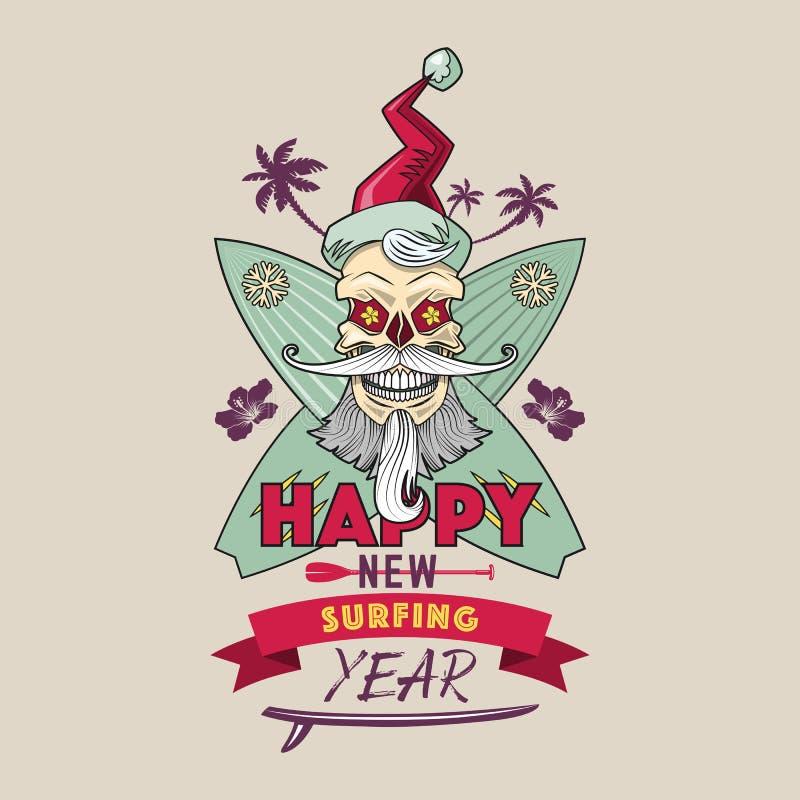 Szczęśliwy Nowy Surfuje roku emblemat ilustracja wektor