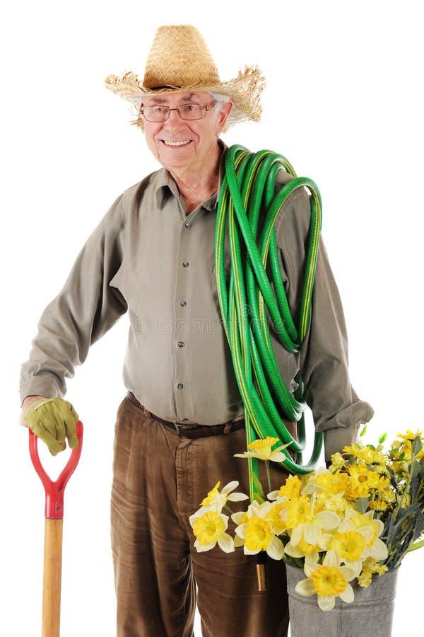 szczęśliwy ogrodniczka senior fotografia stock