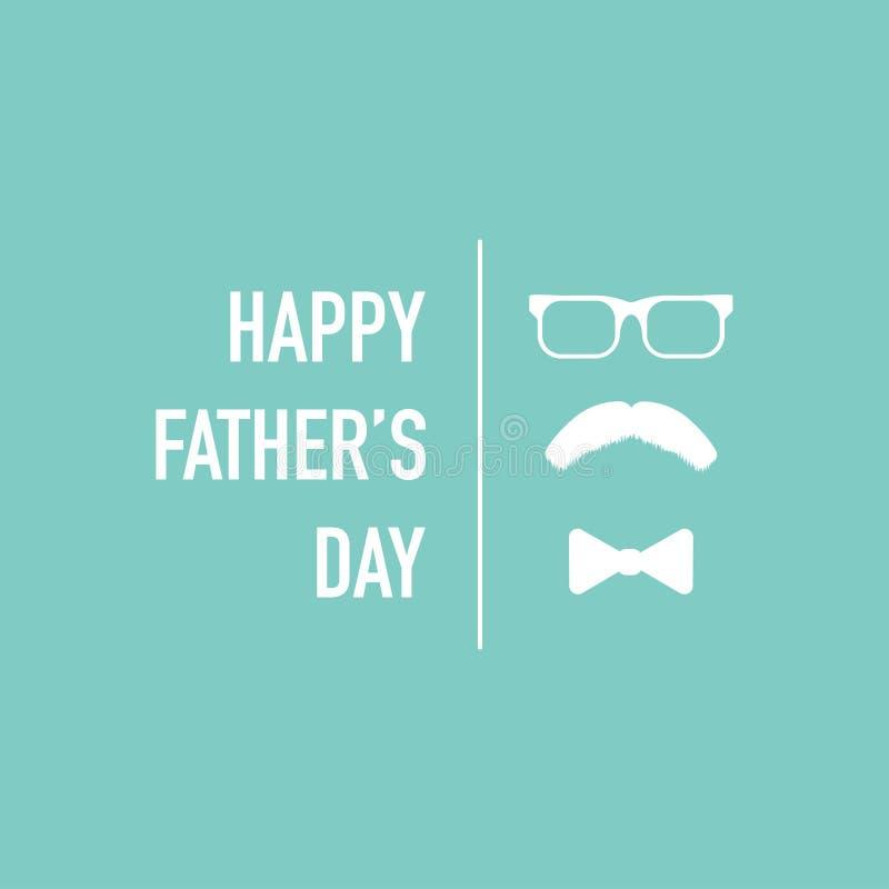 Szczęśliwy ojca dnia kartki z pozdrowieniami bielu wektor ilustracji