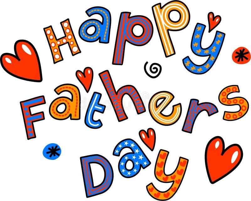 Szczęśliwy ojca dnia kreskówki Doodle tekst ilustracja wektor