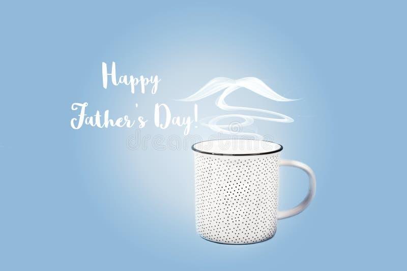 Szczęśliwy ojca dnia pojęcie z filiżanką i wąsy ilustracja wektor