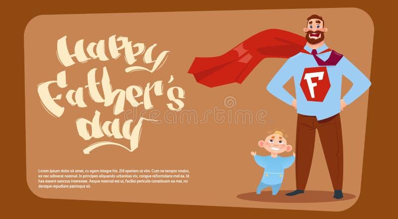 Szczęśliwy ojca dnia Rodzinny wakacje, mężczyzna tata Z synem Jest ubranym bohatera przylądka kartka z pozdrowieniami ilustracji