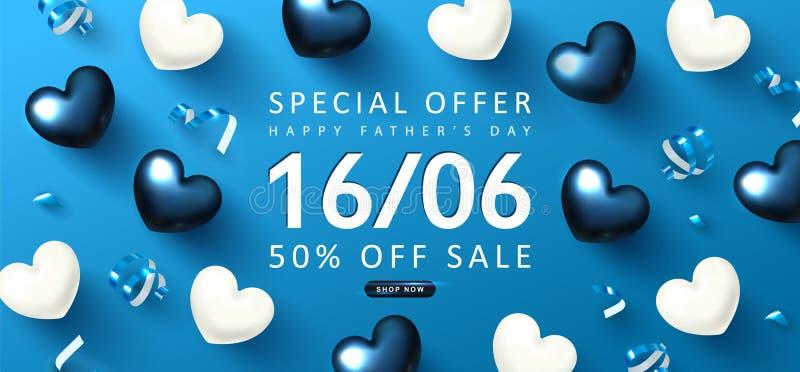 Szczęśliwy ojca dnia sprzedaży sztandar Tło z prezentów streamers i sercami r?wnie? zwr?ci? corel ilustracji wektora ilustracji