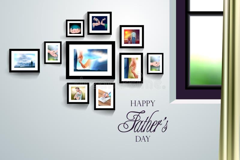 Szczęśliwy ojca dnia tło pokazuje więź uczuciową i związek między dzieciakiem i ojcem ilustracja wektor