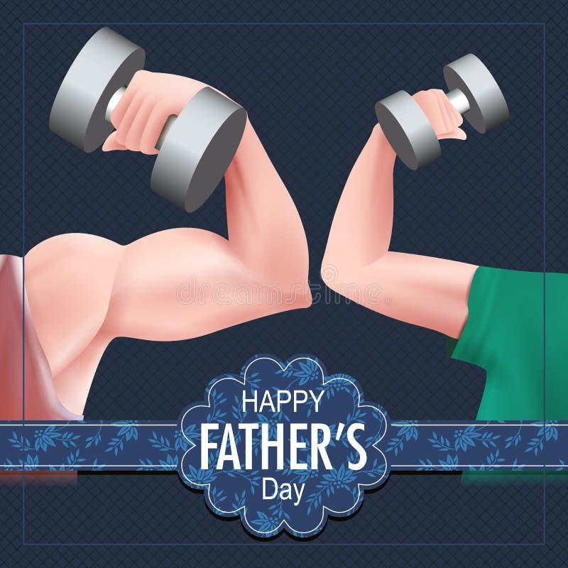 Szczęśliwy ojca dnia tło pokazuje więź uczuciową i związek między dzieciakiem i ojcem royalty ilustracja