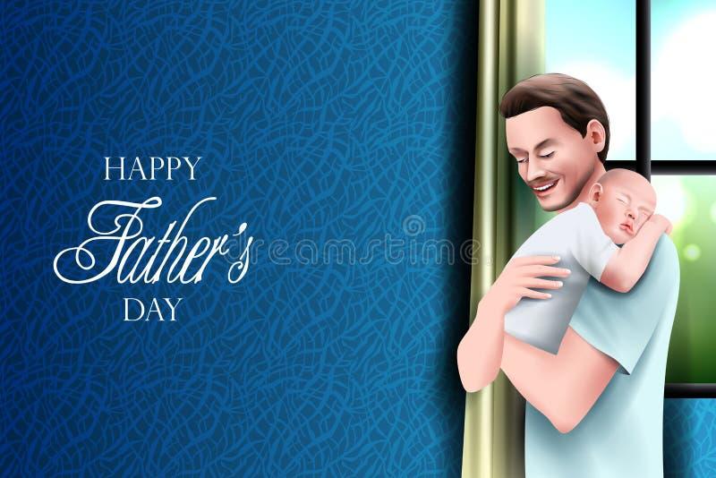Szczęśliwy ojca dnia tło pokazuje więź uczuciową i związek między dzieciakiem i ojcem ilustracji