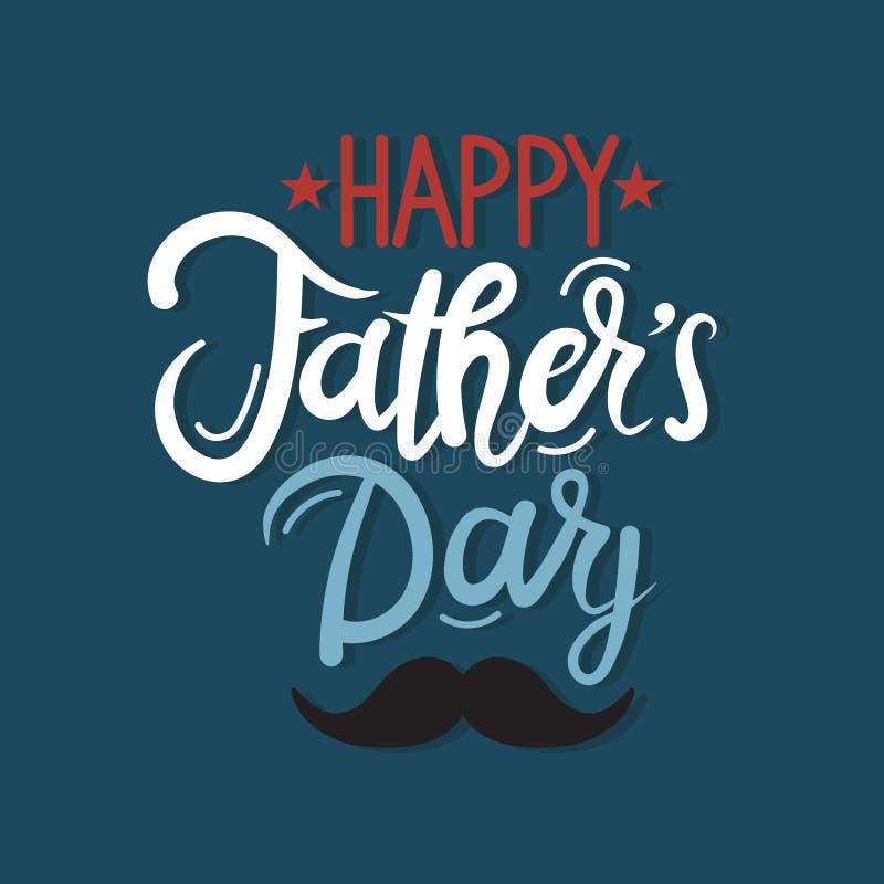 Szczęśliwy ojca dzień! Kartka z pozdrowieniami z angielskim tekstem i wąsy royalty ilustracja