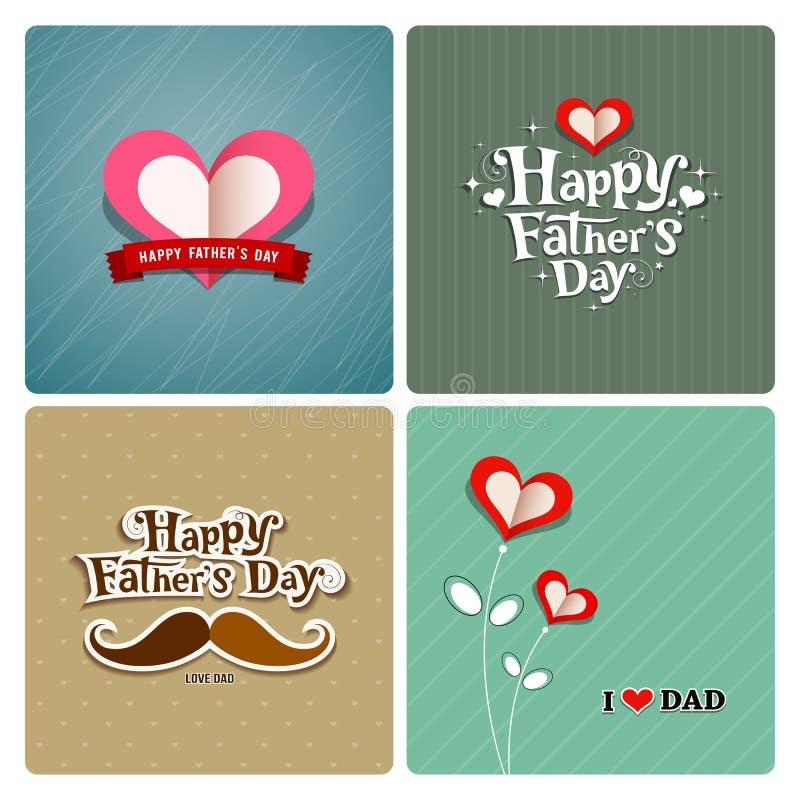 Szczęśliwy ojca dzień, miłość tata kolekcje royalty ilustracja