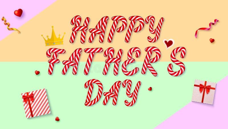 Szczęśliwy ojca s dnia kartka z pozdrowieniami Prezentów pudełka i czerwoni serca na barwionym tle Odgórny widok, pojęcie nieatut royalty ilustracja